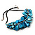 Stunning Teal Blue Shell-Composite Leather Cord Necklace - 50cm Length - view 5