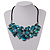 Stunning Teal Blue Shell-Composite Leather Cord Necklace - 50cm Length