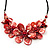 Stunning Brick Red Shell-Composite Leather Cord Necklace - 50cm Length - view 3