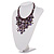 Purple Shell-Composite Bib Necklace - 34cm Length - view 11