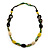 Long Ceramic, Wood & Glass Bead Necklace (Brown, Cream & Olive Green) - 76cm Length - view 8