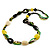 Long Ceramic, Wood & Glass Bead Necklace (Brown, Cream & Olive Green) - 76cm Length - view 7