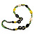 Long Ceramic, Wood & Glass Bead Necklace (Brown, Cream & Olive Green) - 76cm Length - view 3