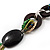 Long Ceramic, Wood & Glass Bead Necklace (Brown, Cream & Olive Green) - 76cm Length - view 4