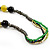 Long Ceramic, Wood & Glass Bead Necklace (Brown, Cream & Olive Green) - 76cm Length - view 5