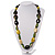Long Ceramic, Wood & Glass Bead Necklace (Brown, Cream & Olive Green) - 76cm Length - view 2