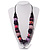 Chunky Purple Wood Beaded Cotton Cord Necklace - 66cm Length