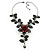 Stunning Y-Shape Mesh Black Floral Necklace With Clear Swarovski Crystals - 34cm Length (7cm extension) - view 2