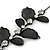 Stunning Y-Shape Mesh Black Floral Necklace With Clear Swarovski Crystals - 34cm Length (7cm extension) - view 4