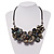 Stunning Slate Black Shell-Composite Leather Cord Necklace - 50cm Length