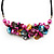 Stunning Hot Pink/Antique Yellow/Light Blue Shell-Composite Leather Cord Necklace - 44cm Length - view 3