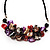 Stunning Purple/Red/Grey Shell-Composite Leather Cord Necklace - 44cm Length - view 3