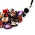Stunning Purple/Red/Grey Shell-Composite Leather Cord Necklace - 44cm Length - view 6