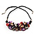 Stunning Purple/Red/Grey Shell-Composite Leather Cord Necklace - 44cm Length - view 2