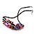 Stunning Purple/Red/Grey Shell-Composite Leather Cord Necklace - 44cm Length - view 5