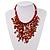 Coral Shell-Composite Bib Necklace - 34cm Length