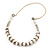 Simulated Pearl & Link White Leather Style Necklace In Silver Plated Metal - 64cm Length