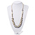 Simulated Pearl & Link White Leather Style Necklace In Silver Plated Metal - 64cm Length - view 2