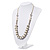Simulated Pearl & Link White Leather Style Necklace In Silver Plated Metal - 64cm Length - view 6