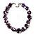 Exquisite Faux Pearl & Shell Composite Silver Tone Link Necklace (Purple & White) - 44cm L/ 3cm Ext - view 5