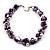 Exquisite Faux Pearl & Shell Composite Silver Tone Link Necklace (Purple & White) - 44cm L/ 3cm Ext - view 7
