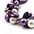 Exquisite Faux Pearl & Shell Composite Silver Tone Link Necklace (Purple & White) - 44cm L/ 3cm Ext - view 3