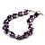 Exquisite Faux Pearl & Shell Composite Silver Tone Link Necklace (Purple & White) - 44cm L/ 3cm Ext - view 9