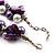 Exquisite Faux Pearl & Shell Composite Silver Tone Link Necklace (Purple & White) - 44cm L/ 3cm Ext - view 4