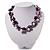 Exquisite Faux Pearl & Shell Composite Silver Tone Link Necklace (Purple & White) - 44cm L/ 3cm Ext - view 2