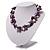 Exquisite Faux Pearl & Shell Composite Silver Tone Link Necklace (Purple & White) - 44cm L/ 3cm Ext - view 6