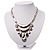 Silver Tone Hammered Diamante Bib Style Necklace - 38cm Length - view 4