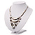 Silver Tone Hammered Diamante Bib Style Necklace - 38cm Length - view 6