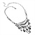 Silver Tone Hammered Diamante Bib Style Necklace - 38cm Length - view 7