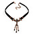 Victorian Black Suede Style Diamante Choker Necklace In Bronze Metal - 34cm Length with 5cm extension