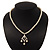 Classic Light Cream Faux Pearl Bead Diamante Necklace - 40cm Length