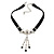 Victorian Black Suede Style Diamante Choker Necklace In Silver Tone Metal - 34cm Length with 5cm extension
