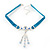 Victorian Light Blue Suede Style Diamante Choker Necklace In Silver Tone Metal - 34cm Length with 5cm extension - view 2