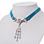 Victorian Light Blue Suede Style Diamante Choker Necklace In Silver Tone Metal - 34cm Length with 5cm extension - view 9