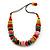 Chunky Multicoloured Wood Beaded Cotton Cord Necklace - 70cm Length