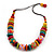 Chunky Multicoloured Wood Beaded Cotton Cord Necklace - 70cm Length - view 8