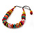 Chunky Multicoloured Wood Beaded Cotton Cord Necklace - 70cm Length - view 9