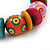 Chunky Multicoloured Wood Beaded Cotton Cord Necklace - 70cm Length - view 3