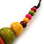 Chunky Multicoloured Wood Beaded Cotton Cord Necklace - 70cm Length - view 4