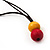 Chunky Multicoloured Wood Beaded Cotton Cord Necklace - 70cm Length - view 5