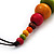 Chunky Multicoloured Wood Beaded Cotton Cord Necklace - 70cm Length - view 6