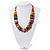 Chunky Multicoloured Wood Beaded Cotton Cord Necklace - 70cm Length - view 7