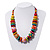 Chunky Multicoloured Wood Beaded Cotton Cord Necklace - 70cm Length - view 2