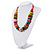 Chunky Multicoloured Wood Beaded Cotton Cord Necklace - 70cm Length - view 10