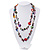 Multicoloured Shell & Imitation Pearl Bead Long Necklace - 134cm Length - view 2