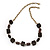 Wired Cube & Resin Bead Modern Necklace In Bronze Metal - 56cm Length
